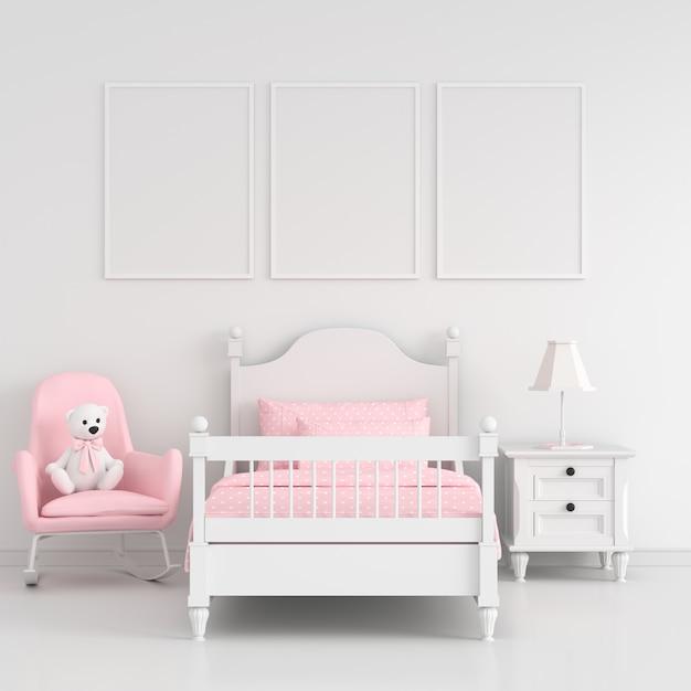 幼稚な寝室の3つの空のフォトフレーム Premium写真