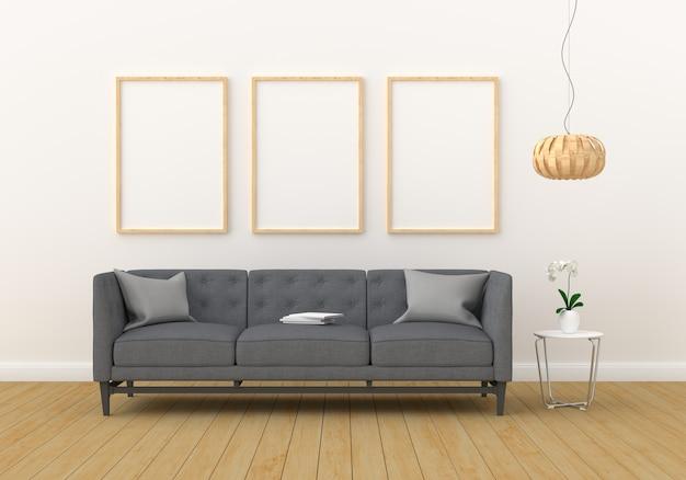 モダンなリビングルームのモックアップの3つの空のフォトフレーム Premium写真