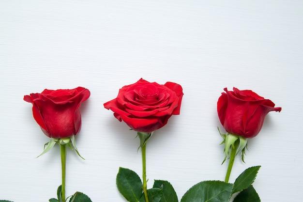 白い木製の背景に3つの赤いバラ Premium写真