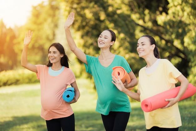 ヨガマットのある公園でポーズをとる3人の妊娠中の女の子 Premium写真