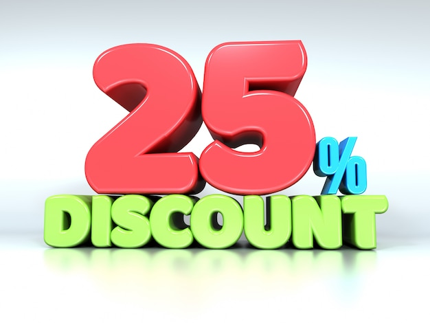3d текст 25% скидка на белом Premium Фотографии