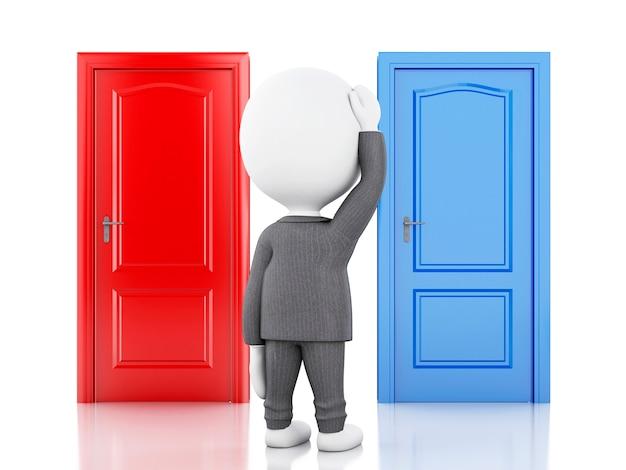 3dの実業家と2つのドア、疑わしい。選択肢コンセプト Premium写真