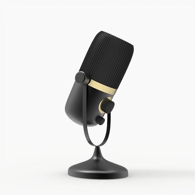 3dマイク。ラジオ番組やオーディオのポッドキャストのコンセプト。ビンテージマイク3 dイラスト Premium写真