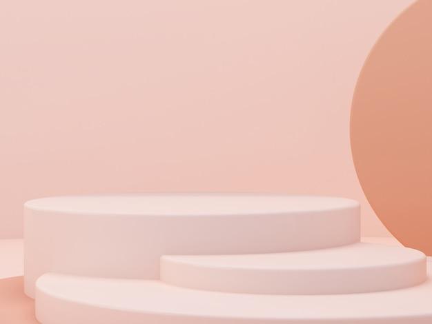 表彰台と抽象的な背景を持つ最小限のシーン。幾何学的形状。パステルカラーのシーン。最小限の3dレンダリング。幾何学的形状と化粧品のテクスチャ背景のシーン。 3 dのレンダリング。 Premium写真