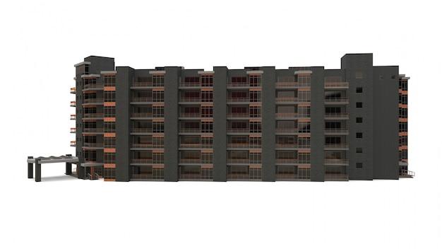 マンションの3dモデル。中庭のあるアパート。 3dレンダリング。 Premium写真