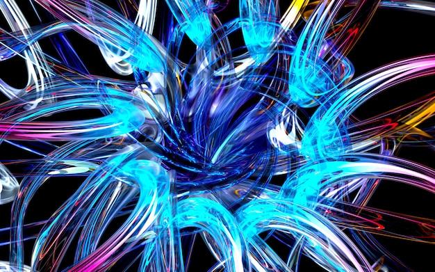 3d визуализации искусства 3d фон с частью абстрактного цветка или турбины на основе кривой волнистые круглые линии стеклянные трубки с светящимися неоновым синим и зеленым элементом света внутри на черном Premium Фотографии