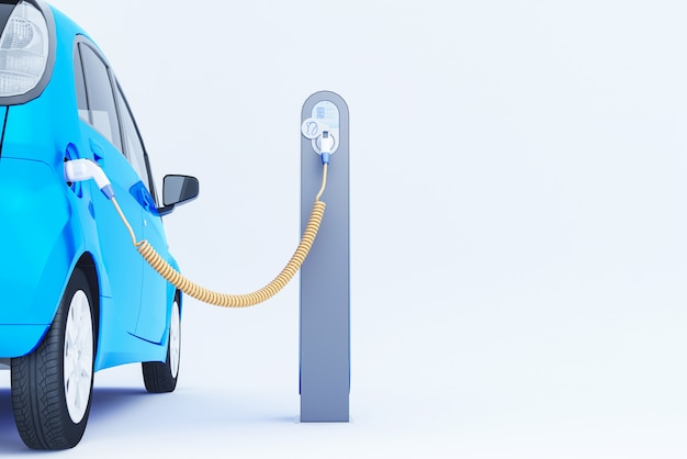 3d синий электромобиль, зарядка на зарядное устройство. 3d-рендеринг. Premium Фотографии