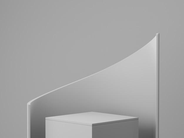 3d представляют стену студии белого серого подиума минимальную. абстрактная геометрическая иллюстрация объекта формы 3d представляет. дисплей для косметики и товаров для красоты. Premium Фотографии