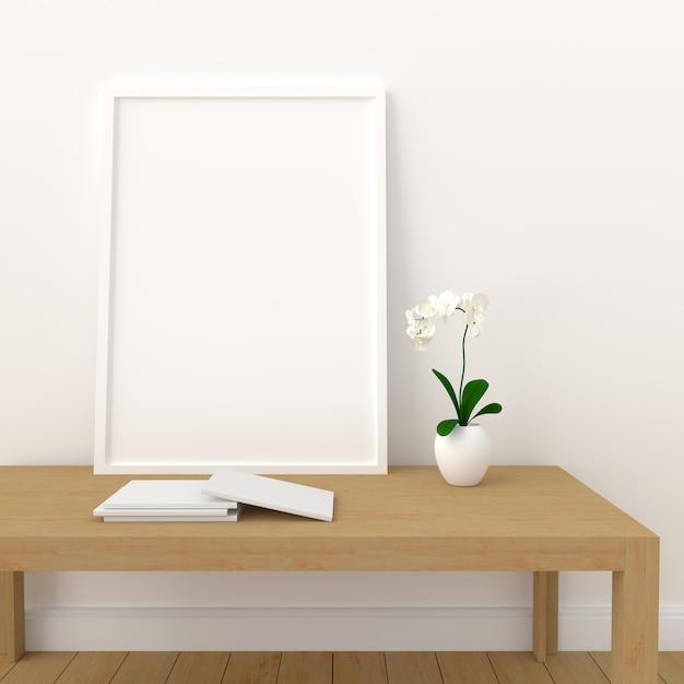 Пустая фоторамка для макета в современной гостиной, 3d визуализации, 3d иллюстрации Premium Фотографии