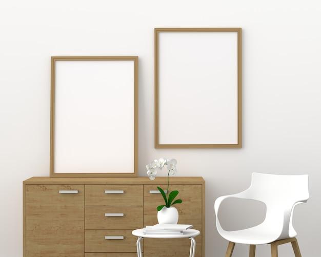 Два пустых фоторамка для макета в современной гостиной, 3d визуализации, 3d иллюстрации Premium Фотографии