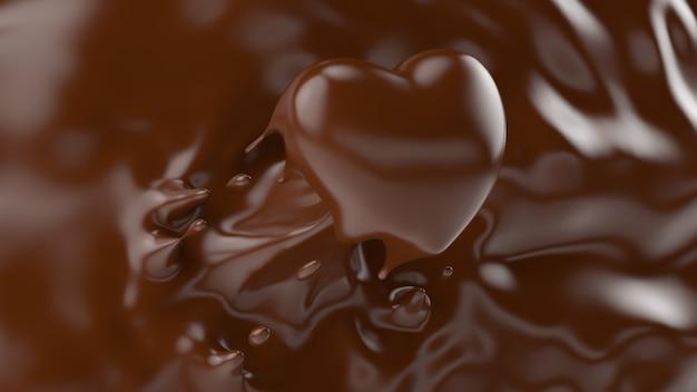 Выплеск шоколада, брызгая в форму сердца, для концепции валентинки или влюбленности, 3d перевод, иллюстрация 3d. Premium Фотографии