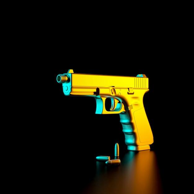 3d изображение 9-мм пистолета и пуль Premium Фотографии