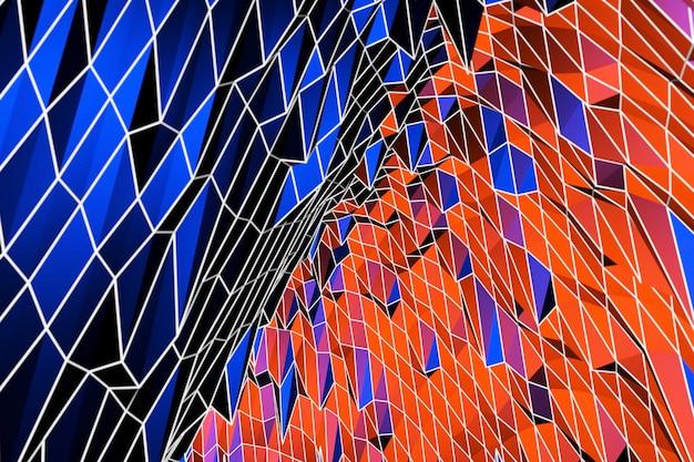 3d 추상적 인 배경 화려한 장식, 파란색과 빨간색 패턴, 3d 그림. 표지 템플릿, 기하학적 모양, 현대 최소한의 배너. 프리미엄 사진