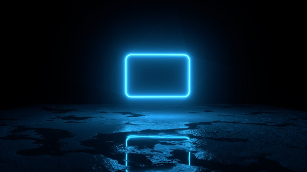 Абстрактная предпосылка 3d представляет, голубая неоновая муха рамки над иллюстрацией земли, retrowave и synthwave. Premium Фотографии