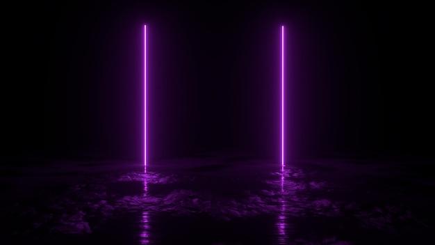 Абстрактная предпосылка 3d представляет, иллюстрация 2 розового неонового света на том основании, retrowave и synthwave. Premium Фотографии