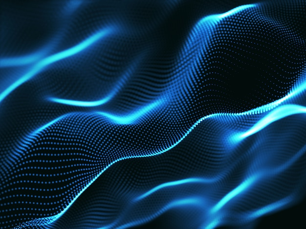 3d abstract background with cyber dots, network communications, motion flow Free Photo