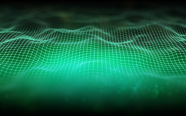3d abstract background with a digital wireframe landscape with shallow depth of field Premium Photo