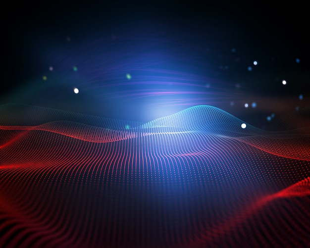 3d abstract background with flowing dots, digital landscape, modern connections Free Photo