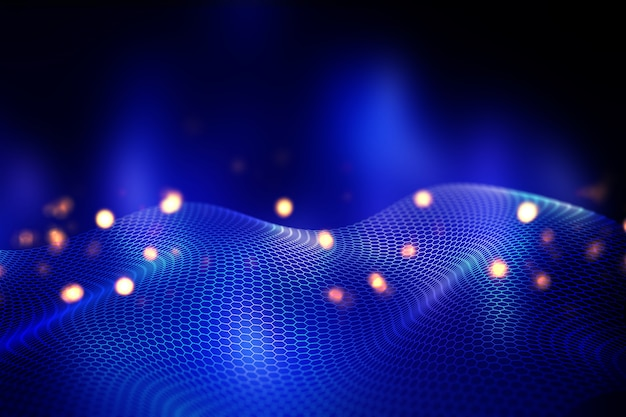 3d abstract background with flowing hexagonal grid design Free Photo
