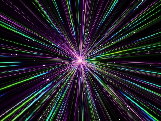 ハイパースペースズーム効果の3d抽象的な背景 無料写真