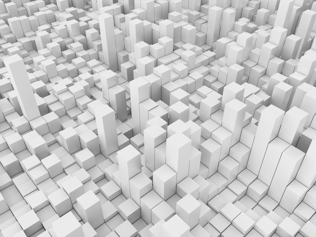 3d абстрактный фон с белыми экструдированными кубиками Бесплатные Фотографии