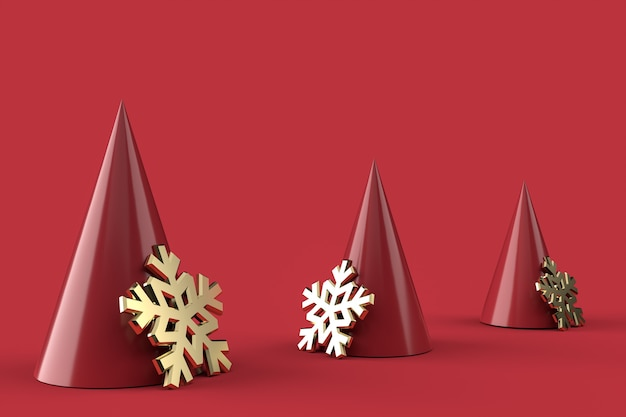 3d abstract christmas trees and golden snowflakes Premium Photo