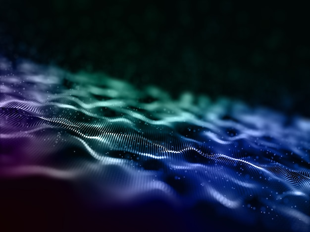 3d abstract digital particle waves design background Free Photo