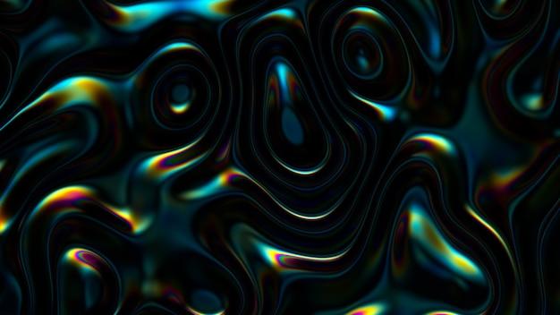 Fondo ondulato iridescente astratto 3d. vibrante superficie di riflessione del liquido. distorsione del fluido olografico al neon Foto Gratuite