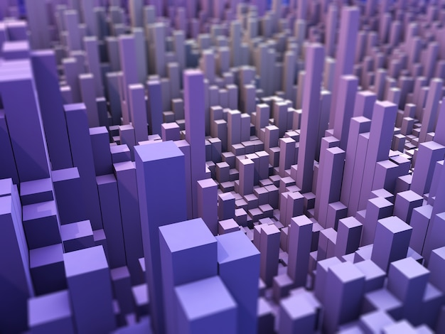 3d abstract landscape background with extruding blocks Free Photo