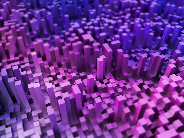 3d абстрактный пейзаж из экструдированных кубов Бесплатные Фотографии