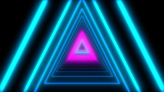 3d abstract lights neon triangles  loop animation  Photo