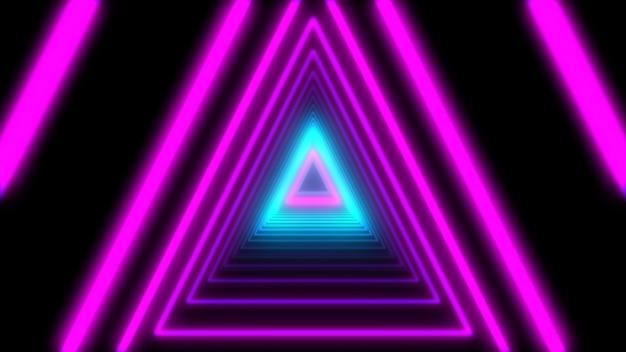 3d abstract lightsネオンの三角形。ループアニメーション Premium写真