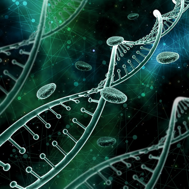 3d abstract medical background with dna strands on a low poly background Free Photo