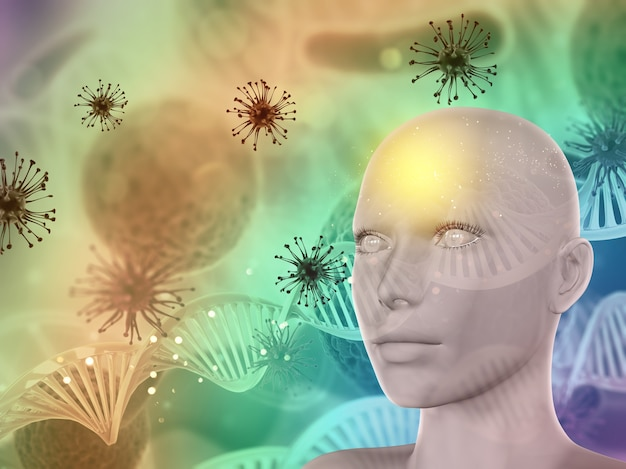 3d abstract medical background with female face, virus cells and dna strands Free Photo
