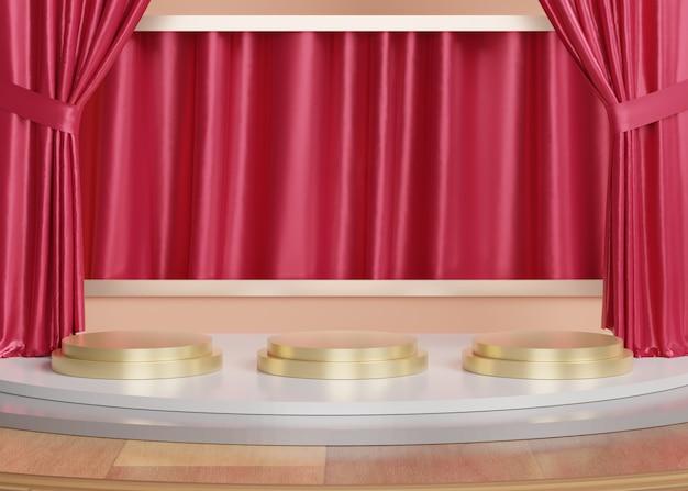 3 dの抽象的な最小限の幾何学的形態。あなたのデザインのための光沢のある豪華な表彰台。ファッションショーのステージまたはカーテンの背景を持つ台座。 Premium写真