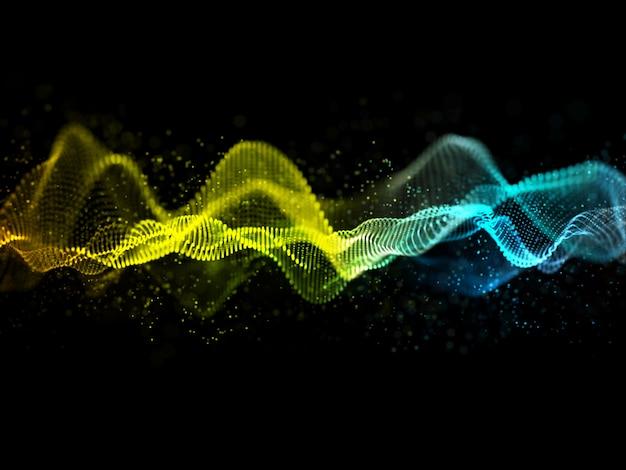 3d абстрактный дизайн звуковых волн с плавными частицами Бесплатные Фотографии