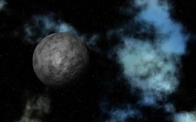 架空の月と星雲の3d抽象空間 無料写真