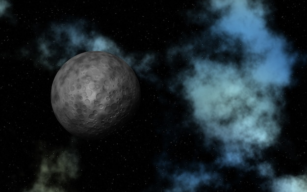 3d abstract space with fictional moon and nebula Free Photo