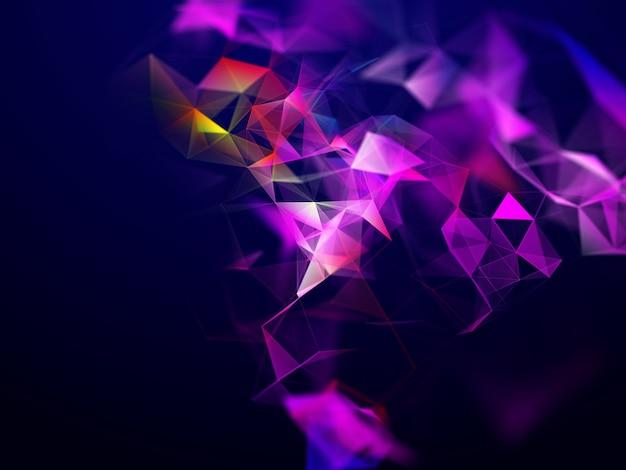 低ポリ神経叢デザインの3d抽象的なテクノ背景 無料写真
