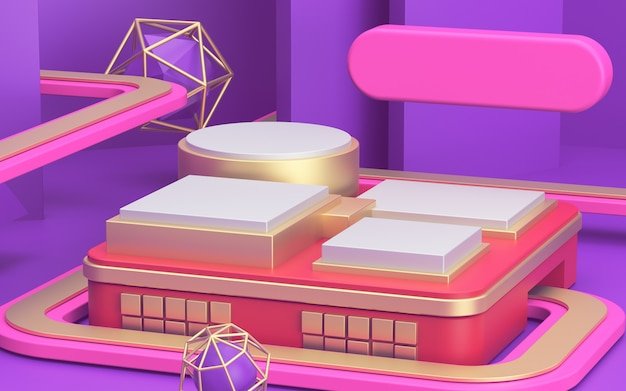 バナーの明るい背景にピンクのモックアップ表彰台と3 d広告 Premium写真