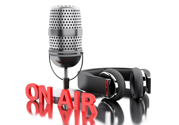 3d on air word with a microphone and headphones. Premium Photo