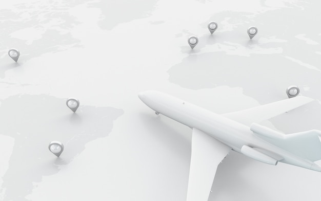 3d airplanes flying around globe with map pointer. Premium Photo