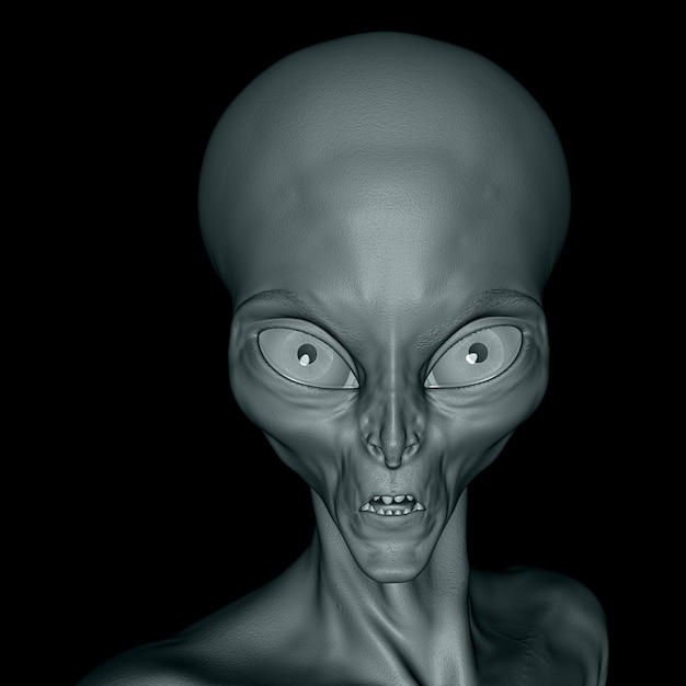 3d alien face close up on a black background Free Photo