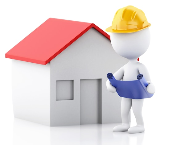 House Construction Clip Art : D architect people with helmet plans and house construction