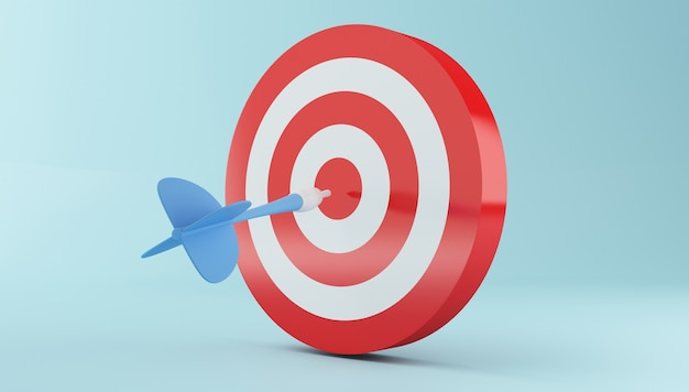 3d arrow hitting the center of red target. Premium Photo