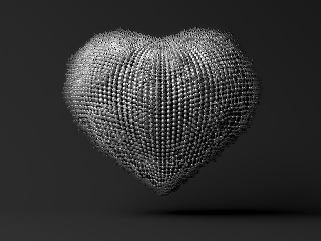 3d art with abstract metal heart on grey Premium Photo