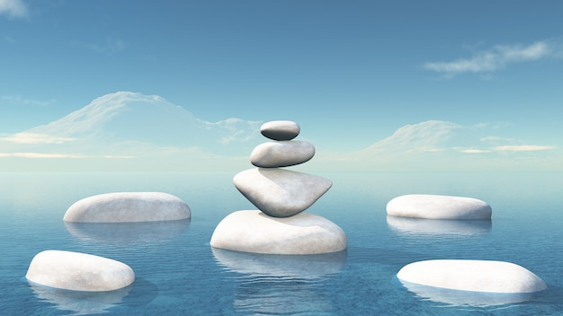3d balancing pebbles in the ocean Free Photo