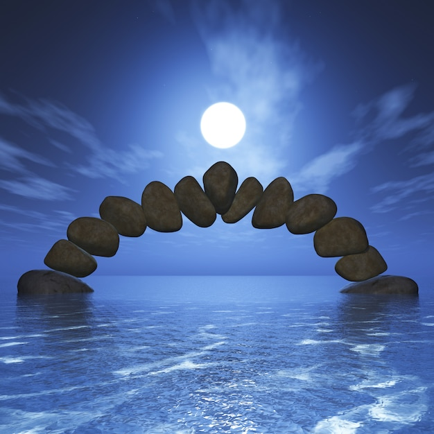 3D balancing rock formation in the ocean against a sunset sky Free Photo