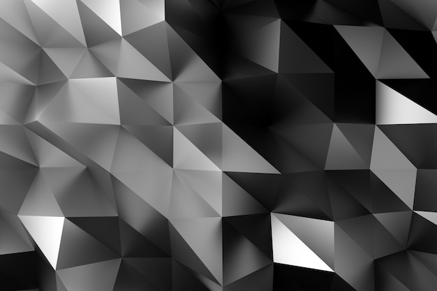 3d black tech geometric low poly corporate illustration background. Premium Photo