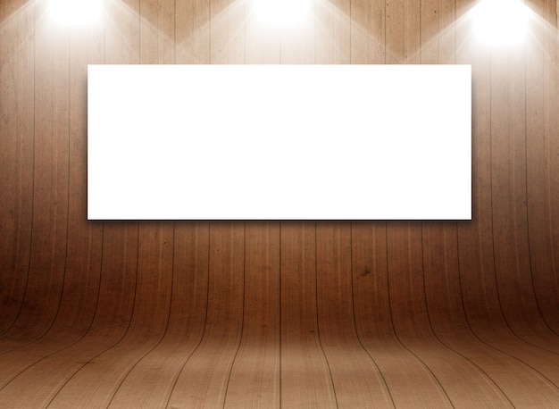 3d blank canvas in curved wooden room display Free Photo